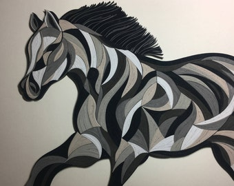 "Abstract Horse - Quilling Wall Art Painting - 1/8""(3mm) paper strips"