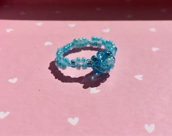 Baby Blue Flower Bud Beaded Ring
