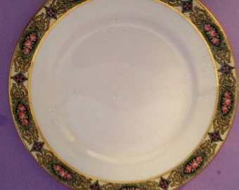 4 Vintage art deco china plates- Homer Laughlin Sunrise Dinnerware-4 plates- rare