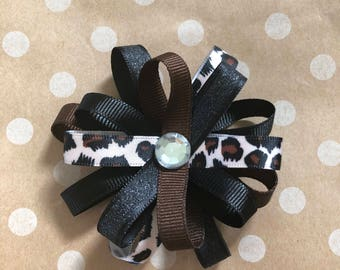 Leopard print flower loop hair bow, hair clip, ribbon