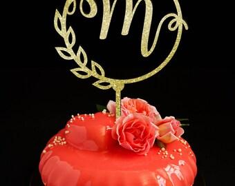 Letter cake topper M, Wedding Cake Topper, Unique Cake Topper, Monogram Cake Topper, Initials Cake Topper Single Letter, Personalised Topper