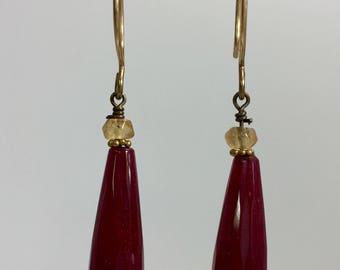 Dark Red Jade Teardrop Earrings