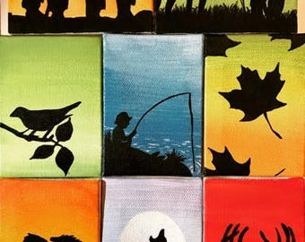 Custom Silhouette Painting on a Mini Canvas