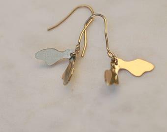 Boucles d'oreilles Akène en laiton doré à l'or fin