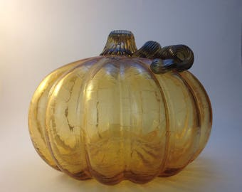Hand-Blown Amber Glass Pumpkin