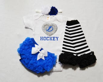 tampa bay lightning baby girl outfit - baby girls tampa bay lightning outfit -  baby girl lightning hockey - lightning baby girl hockey