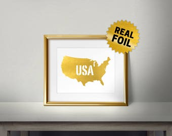 USA Wall Decor, Real Gold Foil Print, United States of America, State Wall Art, State Wall Decor, I love USA, Gold USA Foil, Country Decor