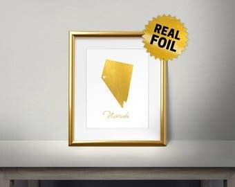 Nevada Las Vegas, Real Gold Foil Print, Foil Print, State framed art, Map decor, Gold Foil Nevada, Las Vegas Wall Decor, I love Nevada