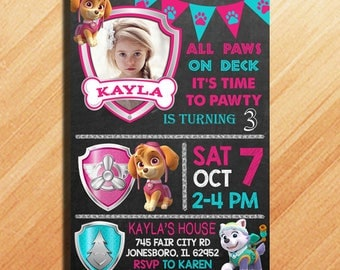 Paw Patrol Birthday Invitation, Paw Patrol Invitation Girl, Paw Patrol Invitation, Paw Patrol Party Invitations, Paw Patrol Birthday Party