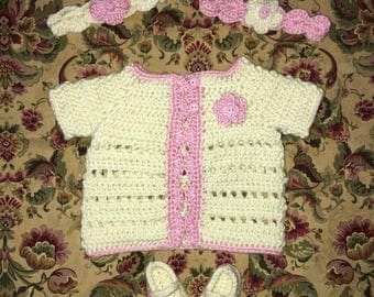 Crochet Baby Girl Sweater Set