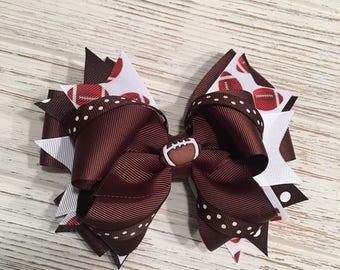READY TO SHIP Football hair bow, Football hairbow, Football hair clip, Football bow, Brown hair bow, Brown hairbow, Brown hair clip