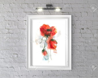 Poppy Print, drawing, flowers Wall Art,printable Poster,watercolor, Digital Download,red black decor, Bedroom, Flower Print, jpg