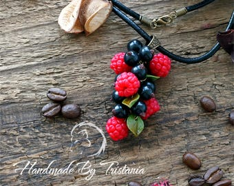 Berries pendant jewelry of polymer clay raspberries bracelet blackberry pendent idea gifts necklace with berries handmade polymer clay