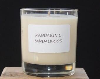 Mandarin & Sandalwood fragranced candle,  Scented Candle, Home Fragrance, Luxury Scented Candle