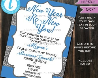 Rodan Fields Invitation Business Launch Party BBL Invite R+F Fine Renew your skin New Year's Glitter Printable R and F INSTANT Self EDITABLE