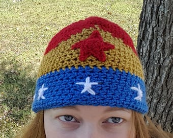 Wonder Woman Inspired Crochet Hat