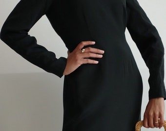 Perfect Hugo Buscati little black dress from the 90's/black dress/little black dress/minimalist dress/minimal silk dress/sheath dress/90's