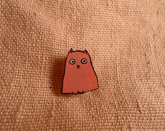 Paranoid cat, cat pin, cute cat pin, cartoon cat, cute cat, cat pin, painted cat pin, brown cat, kawaii brown cat, small cat pin, fat cat
