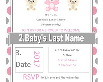 Pink and Gray Teddy Bear Baby Shower Invite
