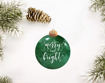 Merry and Bright Glitter Ornament