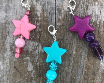 Zipper Pull Charm, Zipper Pull, Zipper Charm, Handbag Zipper Pull, Star Gifts, Beaded Zipper Pull, Handbag Accessories, Bookbag Charm, Gift