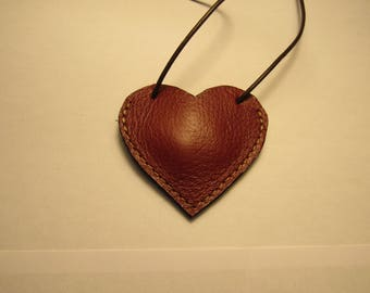 heart pendant handmade small leather pouch