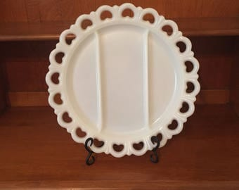 "Vintage Milk Glass Divided Plate - 13"" Divided Plate/Platter with Old Colony Lace Edge Anchor Hocking"