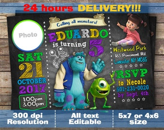 Monsters Inc Invitation, Monsters Inc Invite, Monsters Inc Party, Monsters Inc Birthday, Monsters Inc Printable, Monsters Inc