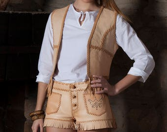 Handmade Leather Vest and Shorts (Model: APAMA)