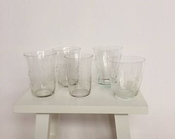 Thin Cut glasses (mix and match) 5 pieces