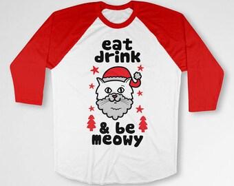 Funny Cat Gifts For Christmas T Shirt Holiday Raglan 3/4 Sleeve TShirt Cat Lover Xmas Present For Her Baseball Raglan Sleeves TEP-521