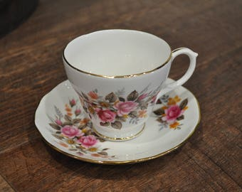 Teacup & Saucer - Duchess - Pink Roses - Orange and Grey Accent - Gold Leaf