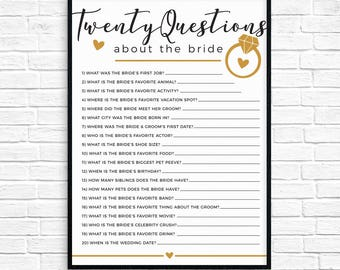 20 Questions Bridal Shower Game!