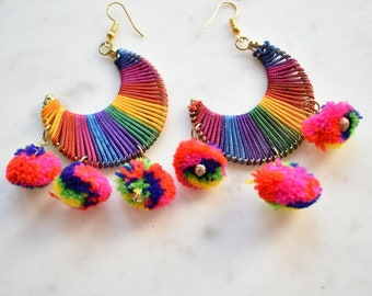 Rainbow Earrings, Half Moon Boho Earrings, Pom Pom Earrings, Colourful Hoop Earrings, Dangling Earrings, Retro 60s Earrings, Hippie Earring