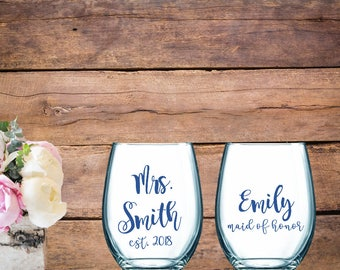 Personalized Bridal Wine Glass Set, Stemless wine glass, Custom wine glass set