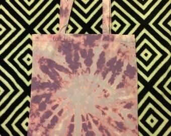 Pink/purple explosion bleach tie dye cotton tote/shopping bag