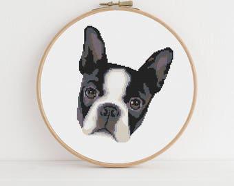 Boston Terrier Animal Portrait Counted Cross Stitch Pattern