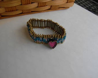 Beaded Safety Pin Heart Bracelet
