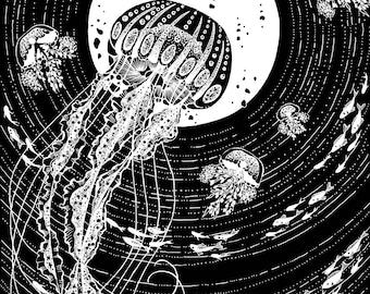 Deep Sea Jellyfish - Print Black and White A4 A5