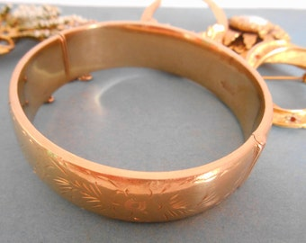 Vintage Excalibur Hand Engraved Rolled Gold Bangle, no.2 hinged with a safety chain