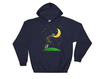 Hedgehog Hoodie - Moon & Stars Hedgehog - Hooded Hedgehog Sweatshirt - Hedgehog Gift - Urchin Wear - Hedgehog Among Moon And Stars - Cute He