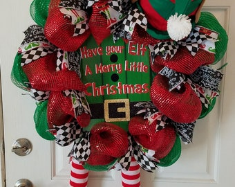 Elf Wreath, Front Door Wreath, Christmas Wreath, Deco Mesh Wreath, Holiday Decor, Home Decor
