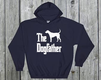 The Dogfather hooded sweatshirt, Foxhound silhouette print, funny dog gift hoodie, The Godfather parody, dog lover sweater, dog gift