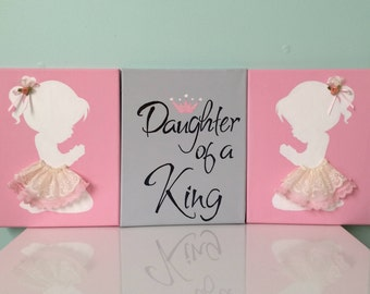 Set of 3 wall art, Daughter of a king,daugter of God,daughter wall decor,baby girl, baby shower, girl room, daughter room, art, handmade,lds