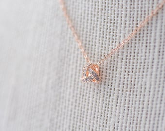 Pave Knot Pendant Necklace - Rose Gold CZ Necklace, Bridal Necklace,  Wedding Necklace,  Crystal Rose Gold Necklace, Bride Necklace