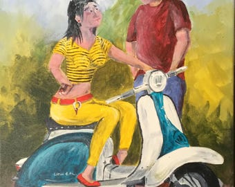 Original Acrylic painting entitled Scooter Talk