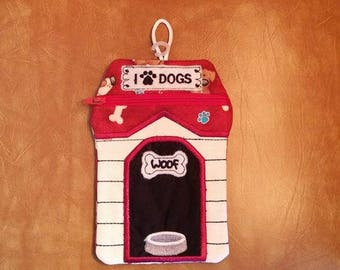 HANDMADE Embroidered Dog House - Zip Bag / Pouch Fully Lined- FREE SHIPPING