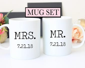Mrs. and Mr. Wedding Date Set of Mugs // Wedding Mugs // Anniversary Gift // Wedding Gift
