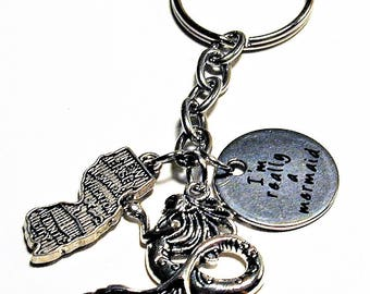 Mermaid and Jersey Shore  Beach Inspired Charm Key Ring #2