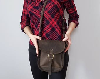 Messenger bag, leather dark brown crossbody for women, small travel bag, cross body bag, womens crossbody bag, tmp